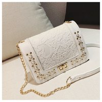 Small Bag 2018 New Flower Lace Rivet Lock Shoulder Messenger Bag Woman Chain Party Clutch Purse Pearl Casual Lady Crossbody Bags