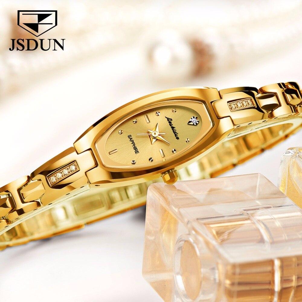 JSDUN Women watches Luxury dress quartz watch Golden Tungsten steel bracelet watch ladies Fashion relogio feminino montre femme