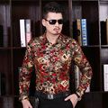 Novos Homens de Design Cheio de Flores Impressas Camisas Dos Homens Da Moda Casual Camisa Floral De Manga Comprida Vestido