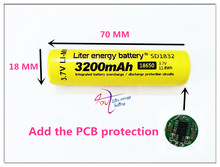 100% New Original NCR18650B 3.7 v 3200 mah 18650 Lithium Rechargeable Battery  Flashlight batteries Add the PCB protection