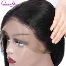 Peluca con malla frontal y pelo Natural para mujer, peluca con malla frontal de 13x4, pelo brasileño liso, encaje Queenlike Remy, pelucas de cabello humano