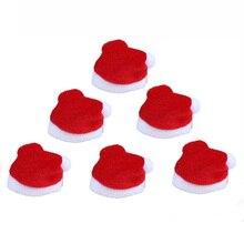 10 adet/takım Mini noel şapka noel baba şapka Xmas elma şarap şişesi kapakları noel hediyesi kapaklar yılbaşı ağacı süs dekor