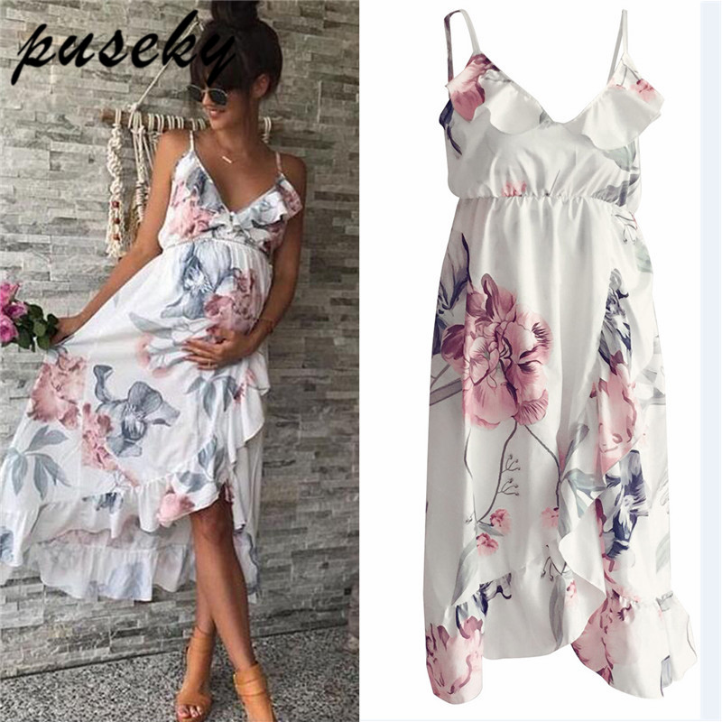 Irregular Milk Fiber Maternity Dresses For Photo Shoot White V-neck Flower Ruffle Pregnancy Dress Maternity Photography Props random floral print ruffle v neck irregular hem mini wrap dress