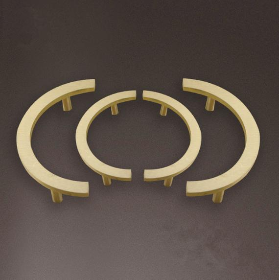 1pc Semicircle Pulls Handles Symmetry Door Knobs Pure Copper Drawer Brushed Brass Cabinet Pull