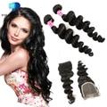 Predazzle 7A Vip Beauty Loose Wave Brazilian Virgin Hair with Lace Closure 2 Bundles Cheap Human Hair Weave Tissage Avec Closure
