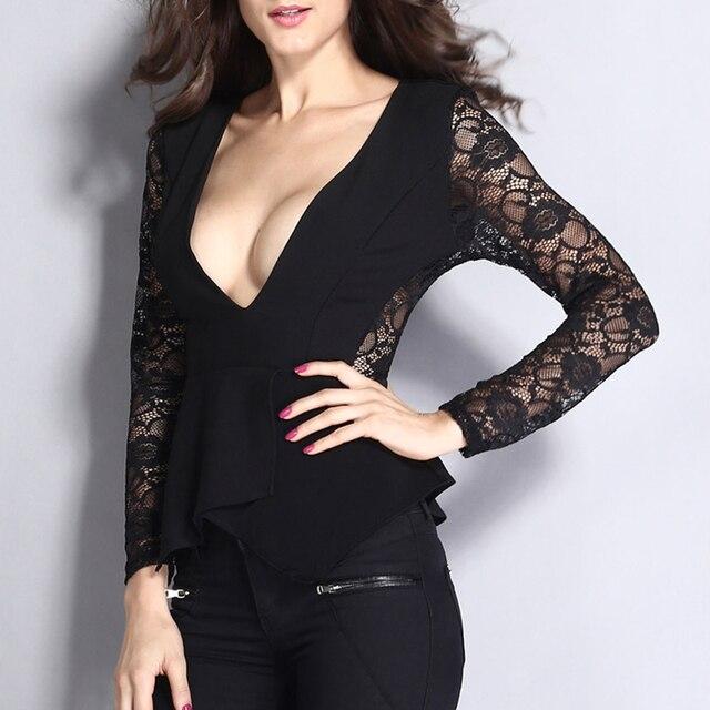 0ad09e417 Elegante cuello en V profundo diseño mangas largas camisas negras de encaje  bordado blusa con volantes