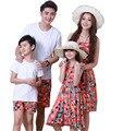 Моды Случайные Снаряжение Семья Комплект Одежды Хлопка Футболку Для Отца Сын Наборы И Мать Дочь Платья AF1638