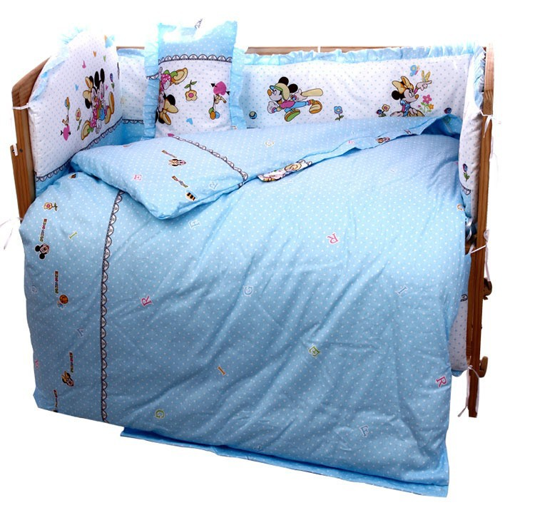 Promotion! 6PCS Cartoon 100% cotton Baby bedding sets piece set crib set 100% cotton (3bumper+matress+pillow+duvet) promotion 6pcs 100