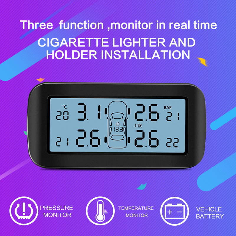 CAREUD D30 Auto Car Wireless TPMS Tire Pressure Monitoring System with 4 Sensors LCD Display Monitor Cigarette Lighter Socket tpms auto car wireless tire pressure monitoring system with 4 sensors lcd display monitor cigarette lighter socket pershn d8 nf