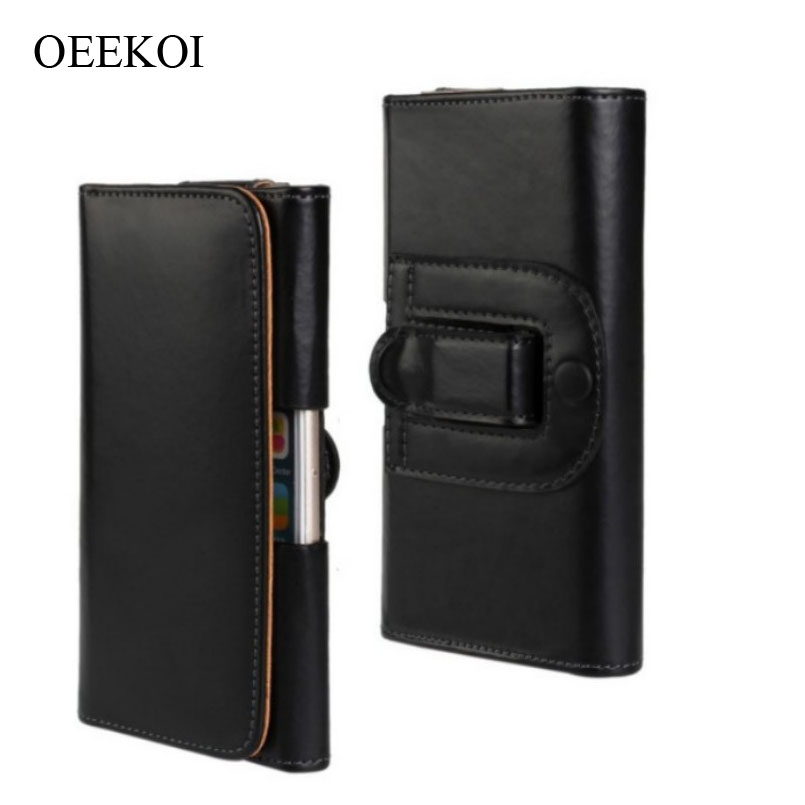 OEEKOI Belt Clip PU Leather Waist Holder Flip Cover Pouch Case for Karbonn Mobiles Alfa A112/Alfa A91 Power/A81/A109/S15 4 Inch