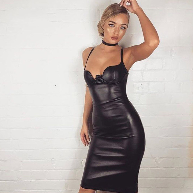 fff1c7daf24 Seamyla новые зимние платья из искусственной кожи женские красные телесные  розовые черные до колена вечерние платья