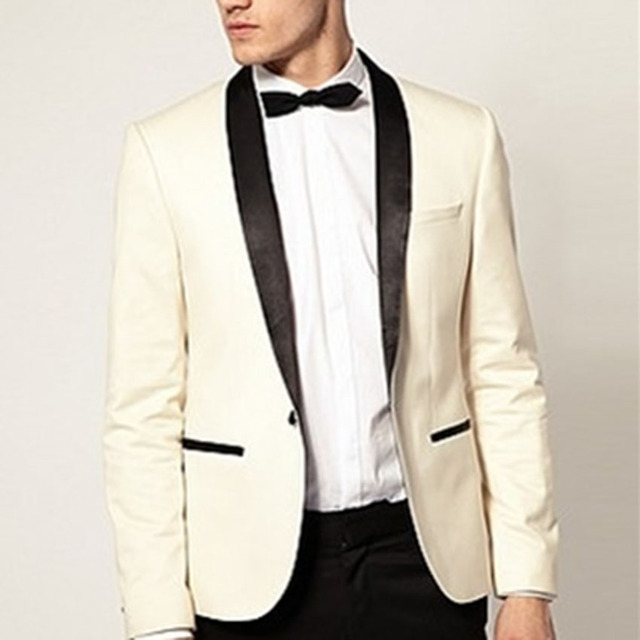c1a8f90ba92a99 Custom Made to Measure Ivory Tuxedo Jacket Black Lapel