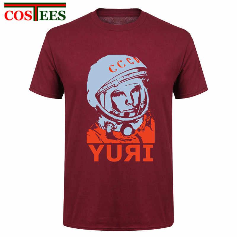 Yuri Gagarin Pro Kitty Rusia T Shirt Pria Uni Soviet Uni Soviet Pria Dicetak Gosha T-shirt Moskow Rusia Pria Tee Katun Ringer atasan Pria