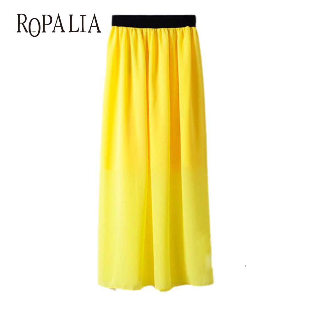 Casual Lady Long Maxi Chiffon Skirts Summer Women Pleated Elastic Waist Skirt New