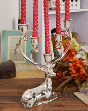 silver finish metal reindeer shape candle holder,5-arms decorative candle stick, zinc alloy candle stand