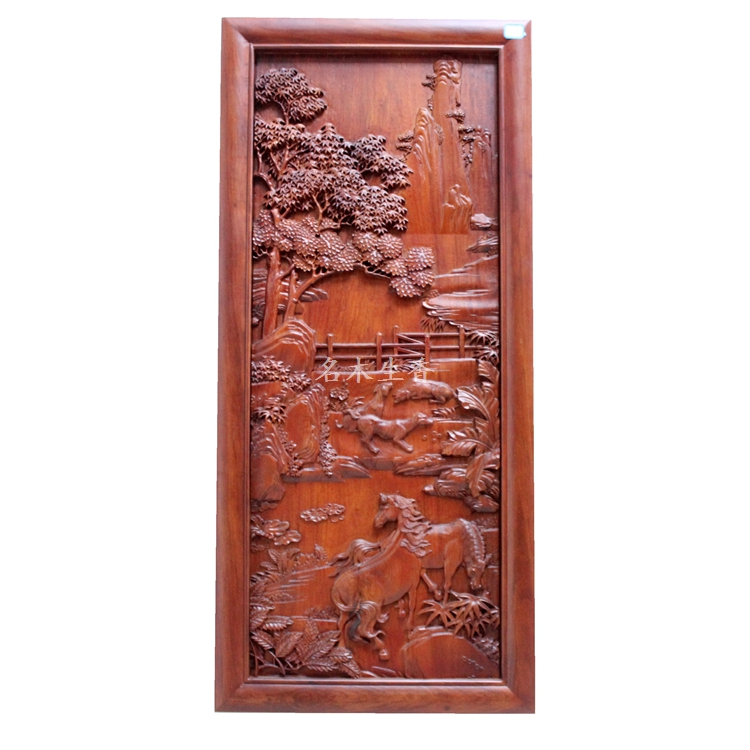 купить Dongyang wood carving plaque hanging boutique cross screen pendant Chinese classical background partition Burma pear Ma по цене 152314.4 рублей