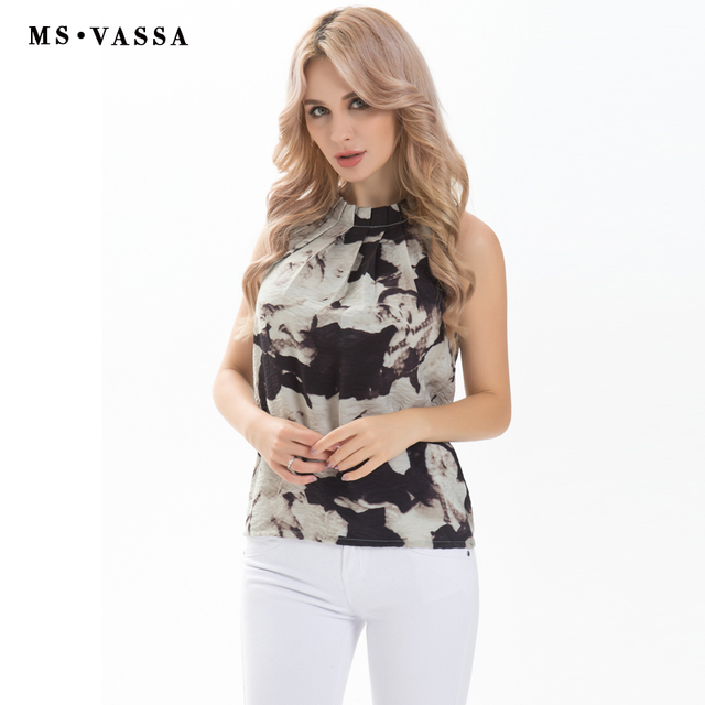 Ladies sleeveless Blouse Draped O-neck Flower printed