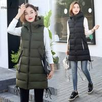 PinkyIsblack Autumn Winter Vest Women Waistcoat 2019 Female Sleeveless Vest Jacket Hooded Warm Long Vest Coat Colete Feminino