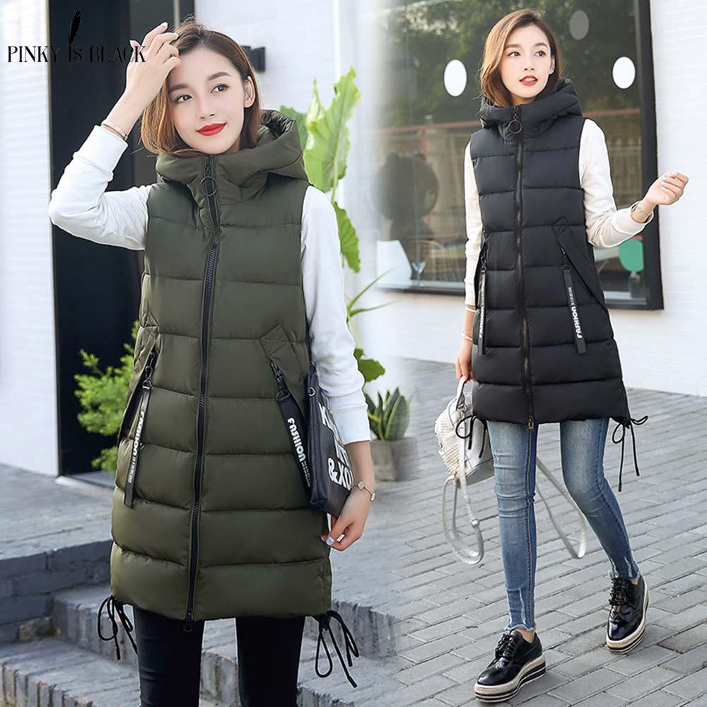 PinkyIsblack automne hiver gilet femmes gilet 2019 femme sans manches gilet veste à capuche chaud Long gilet manteau Colete Feminino