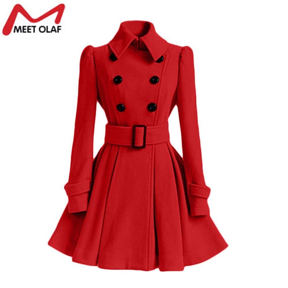 Women Trench Coat Winter Belt Buckle TrenchCoat Double Breasted Vintage Coat Casual Windbreaker Woolen Blend Outwear