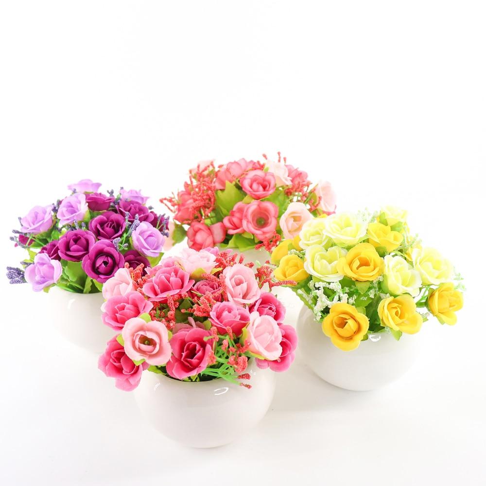 Zinmol 높은 품질의 다이아몬드는 인공 꽃 웨딩 홈 파티 장식 로즈 봄 / 가을 실크 차 장미 꽃병 테이블 장식