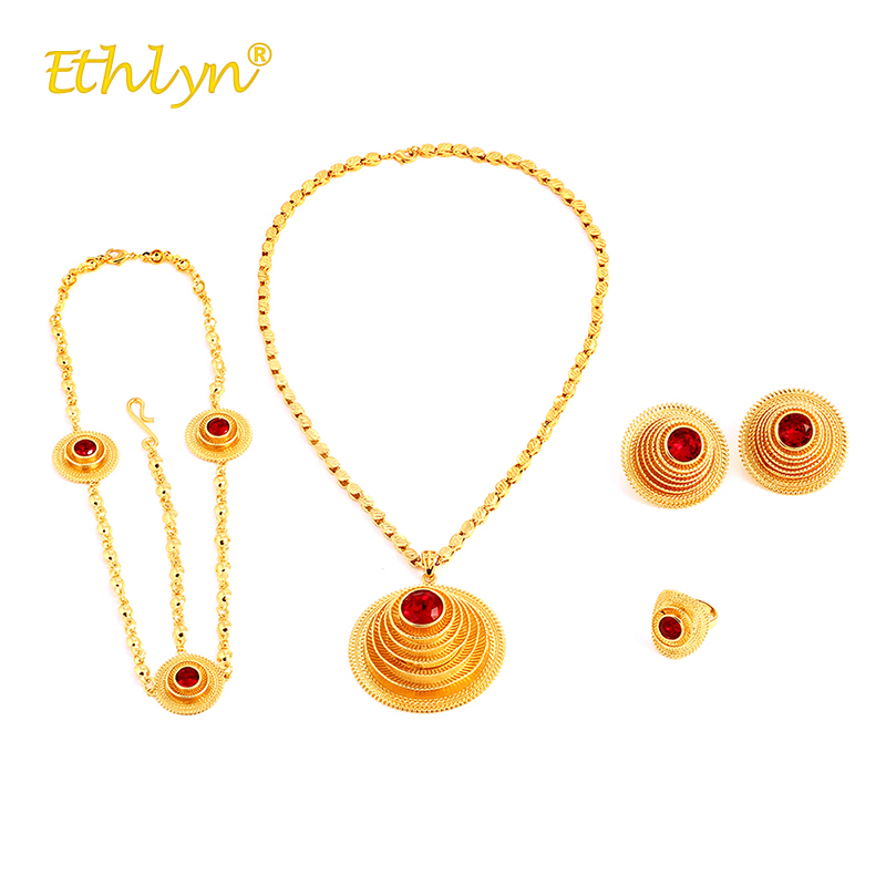 Ethlyn 2018 Ethnic Crystal Luxury Bridal Jewelry Set for Women Golden spiral Necklace Stud Earrings Adjustable Ring Headwear цена 2017