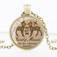 Christmas Gift Necklace Glass Cabochon Santa Claus Picture Statement Chain Necklace Vintage Bronze Silver Jewelry 12pcs/lot