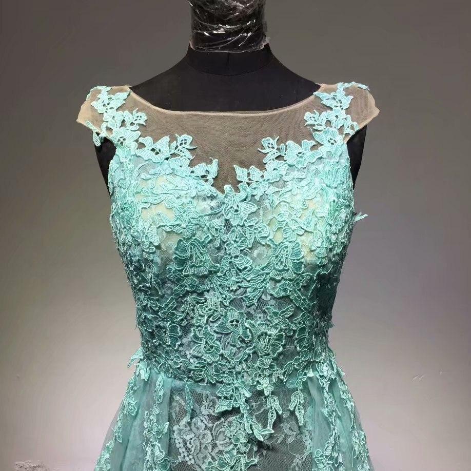 Hote sale O Neck cap sleeve Applique Watteau train Organza Light green Evening Dresses - 4