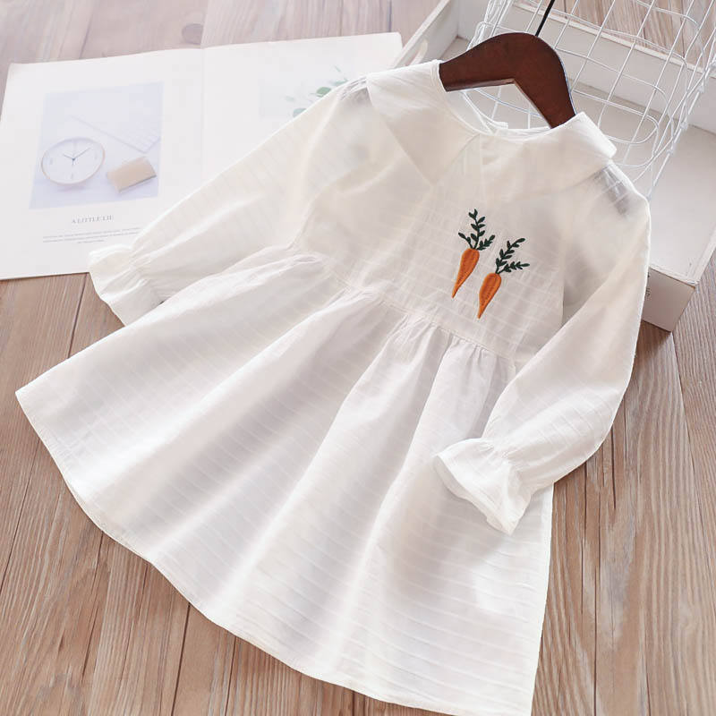 Spring Girls Carrot Embroidered Long Sleeve Dress Children s Clothing Wholesale
