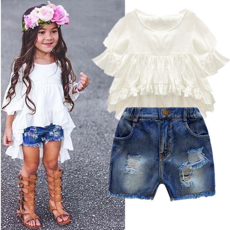 DHL/Equick/EMS Shipping  6 Sets Girls Clothing Sets Lots Fashion Kids Clothing Sets 2017 Top+Jean Pant 2PCS Girls Clothes Sets  3 5x magnification 420mm working distance white loupes amplification dental cure loupe medical surgical therapy magnifier