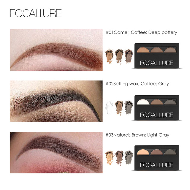 Focallure Eyebrow Powder 3 Colors Eye brow Powder Palette Waterproof and Smudge Proof With Mirror and Eyebrow Brushes Inside 1