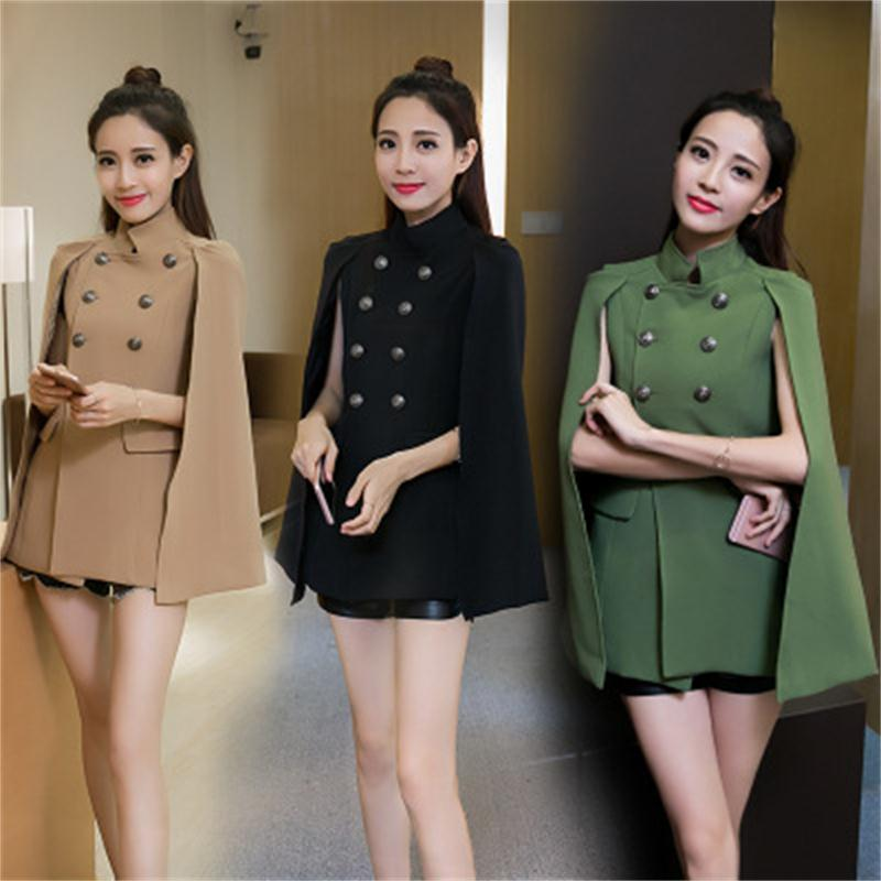 New temperament double breasted Fashion Cloak Cape Blazer Women Black  Lapel Split Long Sleeve Jacket Coat Female Casual Blazers