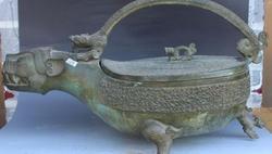 GRATIS VERZENDING 21 Antieke Brons Ware Paleis Dragon Beest Wijn Container Handvat Flagon Standbeeld