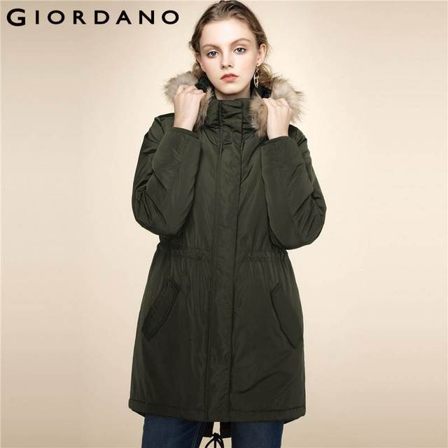 d884d6ad0d376 Giordano Women Quilted Jacket Detachable Hood Jacket Stand Collar Long  Sleeves Winter Coat Elastic Waistband Pockets
