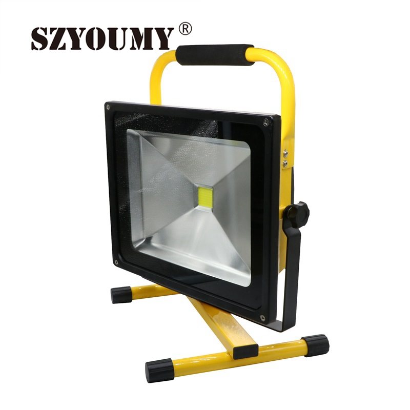SZYOUMY LED Rechargeable Floodlight 10W 20W 30W 50W Cordless Rechargeable LED Flood Light Portable LED Work Light Lamp new 6 18650 battery new powerful lights rechargeable led floodlight 100leds 2400lumen 100w flood lamp portable light