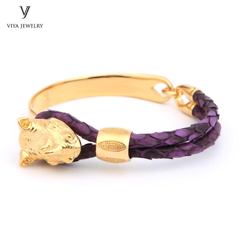 Luxury Sterling Silver Rhinoceros Leather Men Bracelet Real Purple Python Leather Cords Rhino Cuff Bracelet Has Box все цены