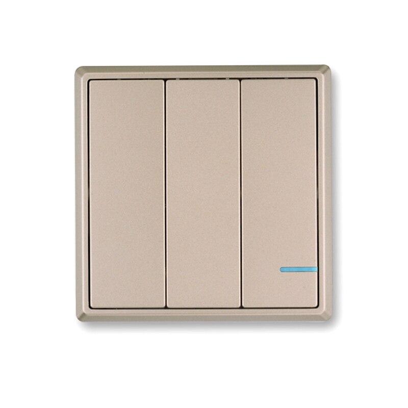 AC110V 220V RF Wireless Remote Switch Wireless Light Switch Button Golden Wireless Wall Panel Remote Control Smart Home