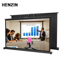 HENZIN 50 inch 16:9 Portable Tabletop Projection Screen Matte White Foldable Table Projector Screen For Business Travel Cinema
