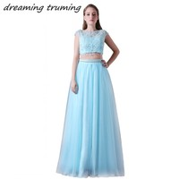 Sky Blue Two Piece Prom Dress A Line Backless Women Bead Tulle Long Formal Evening Gowns