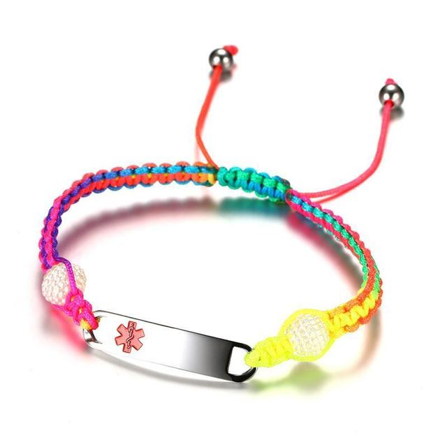 Engraved Medical Alert ID Rope Bracelet Rainbow Bangle Stainless Steel Childrens Womens Mens 3