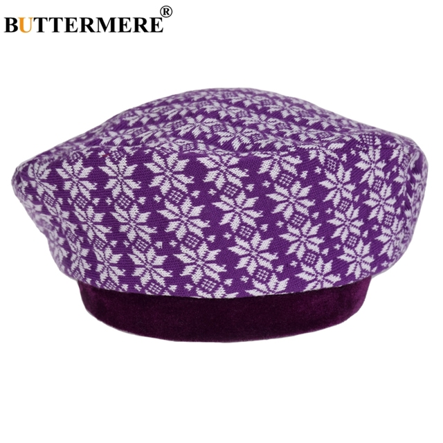 b144c3079f507 BUTTERMERE Knitted Beret Hat Women Purple Printed French Painters Hat  Ladies Flower Elegant Autumn Winter Artist Cap Ladies 2019