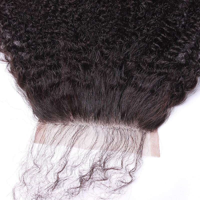 Afro Kinky Bouclés Dentelle Fermeture Avec Bébé Cheveux 4B 4C 100% - Cheveux humains (noir) - Photo 4