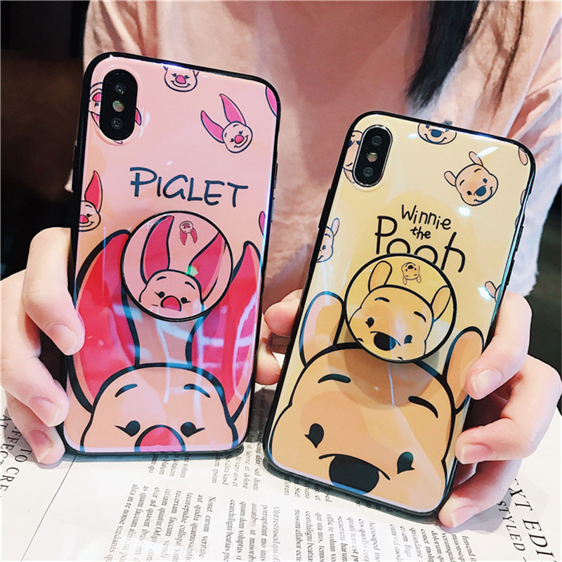 High Quality Bracket Phone Case For iPhone X 8plus 7plus 6s plus Cartoon Pooh Bear Piglet Blu-ray Soft Back Cover TPU Casing ...