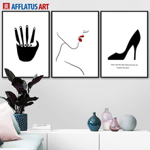 Black White Girl Hands High Heel Nordic Posters And Prints Wall Art Canvas Painting Pictures For Living Room Bedroom Decor