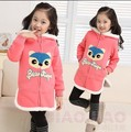 2015 Children's Clothing Kids Fall Winter Cartoon Fox Long Hooded Sweater Girls Casual Cardigan Fleece Sweatshirt Outerwear G100