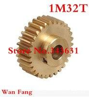 1 CÁI 1M32T 32 răng mod = 1 Brass Spur hình trụ Truyền Động Bánh Răng bộ phận máy Khoan, 5 mét, 6 mét, 6.35 mét, 7 mét, 8 mét, 10 mét