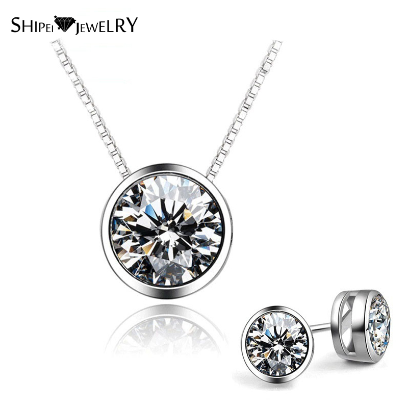 SHIPEI Necklace Classic Round Cute Necklace Earrings Set In Plated White Gold with Crystal, Fashion Jewelry Set for Women