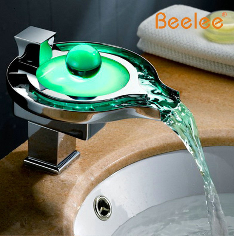 Led Bathroom Faucet Brass Chromed Waterfall Bathroom Basin Faucets 3Colors  Change Led Tap Water Power Basin
