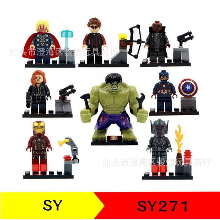 8pcs SY271 Avengers Ultron Age Hulk Ironman Compatible Action Figure Building Block Brick Model Set Kids Toys