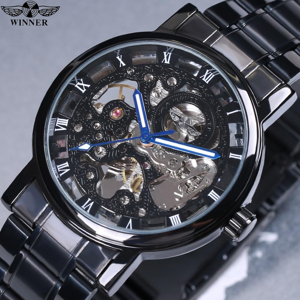 791e22be1c0 Vencedor Steampunk Transparente Montre Homme Preto Retro Casual Mens  Relógios Top Marca de Luxo Completa Aço
